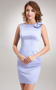 Sheath/Column Scoop Neck Short/Mini Satin Bridesmaid Dress With Bow(s) (007001470)