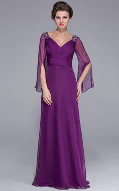 A-Line/Princess V-neck Floor-Length Chiffon Mother of the Bride Dress With Ruffle Beading (008025758)