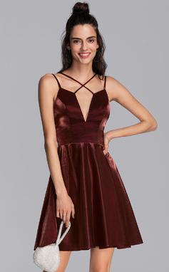 Corte A Decote V Curto/Mini Jersey Vestido de boas vindas (022206508)