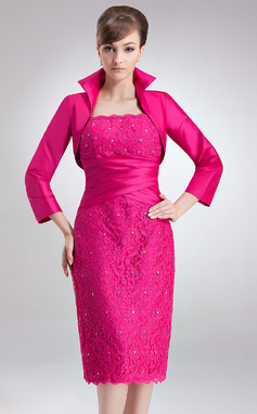 Sheath/Column Square Neckline Knee-Length Taffeta Lace Mother of the Bride Dress With Ruffle Beading (008006172)