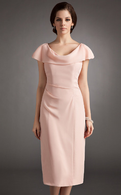 Sheath/Column Cowl Neck Knee-Length Chiffon Mother of the Bride Dress With Ruffle (008005704)