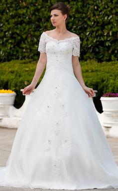 Платье для Балла Выкл-в-плечо Церковный шлейф Органза Свадебные Платье с Рябь Кружева развальцовка (002011562)