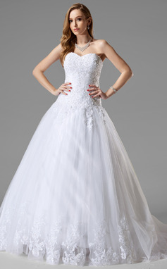 Ball-Gown Sweetheart Court Train Tulle Wedding Dress With Lace Beading (002000467)