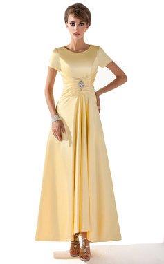 A-Line/Princess Scoop Neck Asymmetrical Charmeuse Mother of the Bride Dress With Ruffle Beading (008005699)