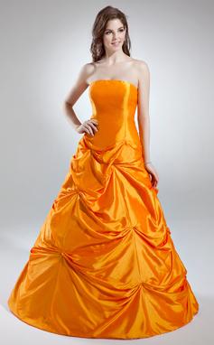 Трапеция/Принцесса Без лямок Длина до пола Тафта Пышное платье с Рябь (021016035)
