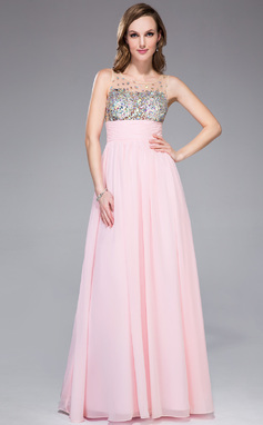 Empire Scoop Neck Floor-Length Chiffon Prom Dress With Ruffle Beading (018042713)