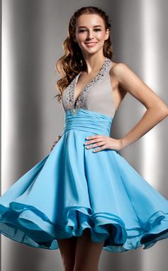 Vestidos princesa/ Formato A Cabresto Curto/Mini De chiffon Vestido de boas vindas com Pregueado Bordado (022020968)