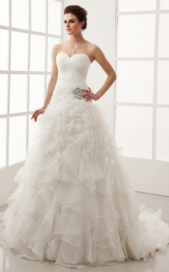 Ball-Gown Sweetheart Chapel Train Satin Organza Wedding Dress With Crystal Brooch Cascading Ruffles (002011547)