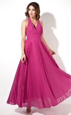 Forme Princesse Dos nu Longueur cheville Mousseline Robe de soirée avec Plissée (017022526)