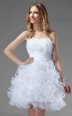 Vestidos princesa/ Formato A Coração Coquetel Organza de Vestido de boas vindas com Bordado fecho de correr Babados em cascata (022020751)