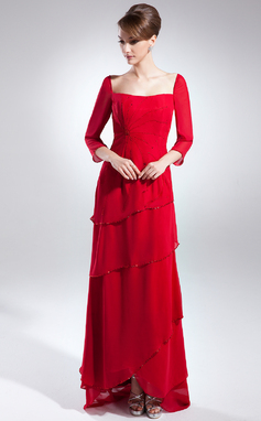 A-Line/Princess Square Neckline Asymmetrical Chiffon Mother of the Bride Dress With Beading (008015888)