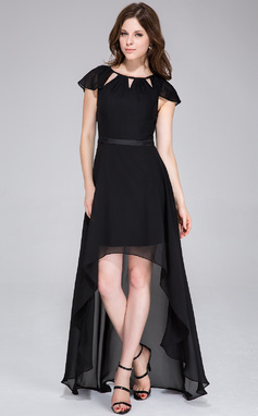 A-Line/Princess Scoop Neck Asymmetrical Chiffon Holiday Dress With Bow(s) (020037391)