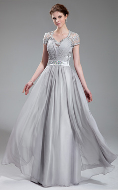 Vestidos princesa/ Formato A Decote V Longos De chiffon Vestido de festa com Pregueado Bordado (017019722)
