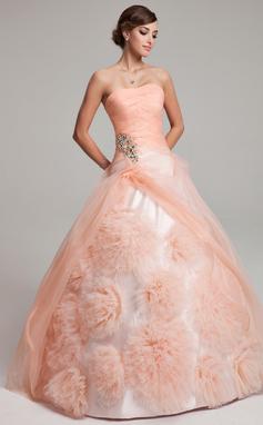 Corte de baile Estrapless Hasta el suelo Organdí Vestido de quinceañera con Bordado Flores Cascada de volantes (021017549)