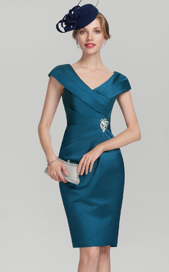 Sheath/Column V-neck Knee-Length Satin Mother of the Bride Dress With Ruffle Beading (008131959)