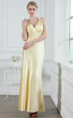 Corte A/Princesa Escote en V Hasta el tobillo Charmeuse Vestido de noche con Volantes Bordado (017002611)