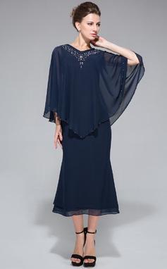 Trumpettimekot/Merenneito V-kaula-aukko Polven alle Sifonki Morsiamen äiti-mekko jossa Helmikuvoinnit Paljetit (008042889)