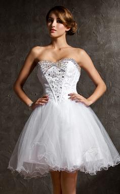 Vestidos princesa/ Formato A Coração Curto/Mini Tule Vestido de boas vindas com Renda Bordado (022020969)