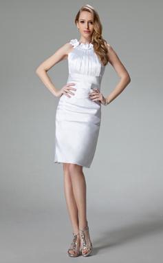 Vestido tubo Escote redondo Altura de la rodilla Charmeuse Baile de promoción con Volantes Flores (016002965)