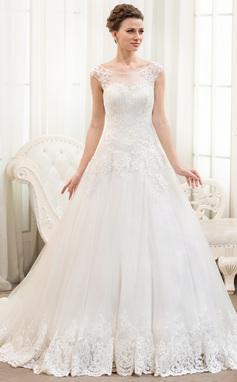 Balklänning Rund-urringning Chapel släp Tyll Spetsar Bröllopsklänning med Pärlbrodering Paljetter (002054359)