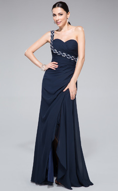 Sheath/Column One-Shoulder Floor-Length Chiffon Prom Dress With Ruffle Beading Split Front (018046254)
