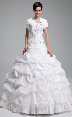Платье для Балла Одно плечо Длина до пола Тафта Пышное платье с Рябь развальцовка аппликации кружева Цветы блестки (021004719)