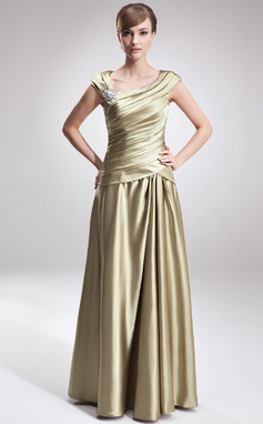 A-Line/Princess V-neck Floor-Length Charmeuse Mother of the Bride Dress With Ruffle Beading (008006308)