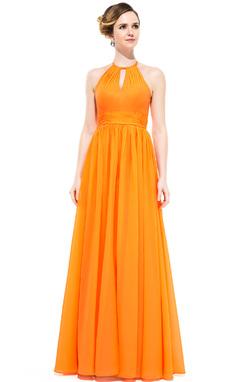 Vestidos princesa/ Formato A Decote redondo Longos De chiffon Vestido de festa com Pregueado (007050070)