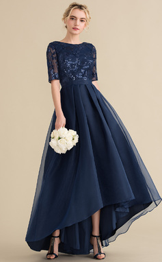 A-Line/Princess Scoop Neck Asymmetrical Organza Sequined Bridesmaid Dress (007144747)