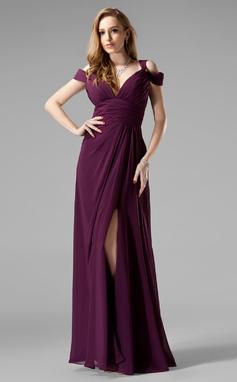 Vestidos princesa/ Formato A Decote V Longos De chiffon Vestido de festa com Pregueado Frente aberta (017020329)