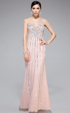 Trumpet/Mermaid Sweetheart Floor-Length Chiffon Tulle Prom Dress With Beading Sequins (018044977)