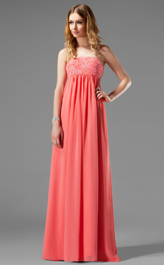 Empire Strapless Floor-Length Chiffon Holiday Dress With Ruffle Beading Appliques Lace (020003264)