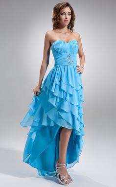 Corte A/Princesa Escote corazón Asimétrico Chifón Vestido de baile de promoción con Bordado Cascada de volantes (018021020)