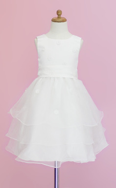 A-Line/Princess Tea-length Flower Girl Dress - Organza/Satin Sleeveless Scoop Neck With Flower(s) (010005344)