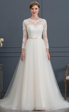 Платье для Балла/Принцесса Иллюзия Церемониальный шлейф Тюль Свадебные Платье с Бант(ы) (002171948)