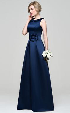 A-Line/Princess Scoop Neck Floor-Length Satin Bridesmaid Dress With Flower(s) (007074181)