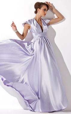 A-Linie/Princess-Linie V-Ausschnitt Bodenlang Charmeuse Abendkleid mit Rüschen (017021119)
