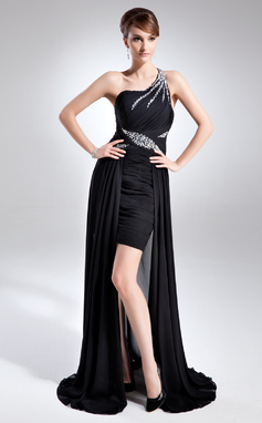 A-Line/Princess One-Shoulder Asymmetrical Chiffon Mother of the Bride Dress With Ruffle Beading (008015782)