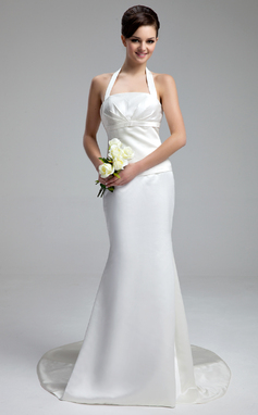 Forme Sirène/Trompette Dos nu Traîne moyenne Satiné Robe de mariée avec Plissé À ruban(s) (002000058)