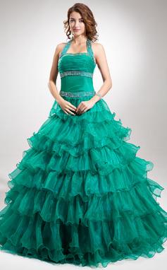 Corte de baile Cabestro Hasta el suelo Organdí Vestido de baile de promoción con Cuentas Cascada de volantes (018135477)