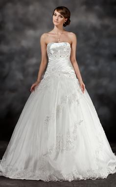 Duchesse-Linie Herzausschnitt Sweep/Pinsel zug Charmeuse Tüll Brautkleid mit Rüschen Perlen verziert Applikationen Spitze (002017430)