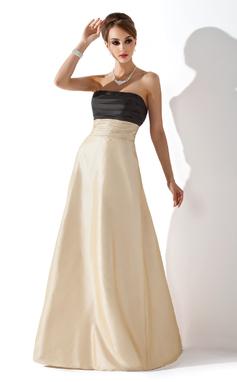 Empire Strapless Floor-Length Taffeta Bridesmaid Dress With Ruffle (007004290)