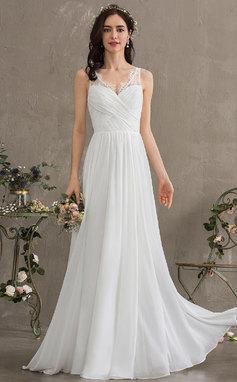 Corte A Escote en V Hasta el suelo Gasa Vestido de novia con Volantes (002186366)