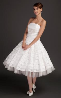 Forme Princesse Sans bretelle Longueur mollet Taffeta Robe de mariée avec Plissé Emperler Motifs appliqués Dentelle (002015544)