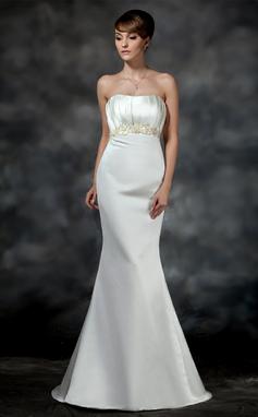 Trompete/Sereia Coração Cauda de sereia Cetim Vestido de noiva com Pregueado Bordado (002011621)