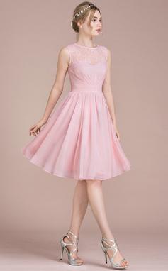 Vestidos princesa/ Formato A Decote redondo Coquetel Tecido de seda Renda Vestido de boas vindas com Pregueado (022116412)