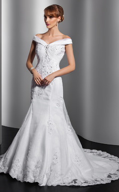 Trumpet/Mermaid Off-the-Shoulder Chapel Train Satin Organza Wedding Dress With Ruffle Appliques Lace Sequins (002014749)