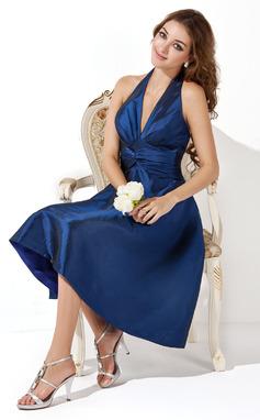A-Lijn/Prinses Halster Knie-Lengte Taft Bruidsmeisjes Jurk met Roes Strik(ken) (007000860)