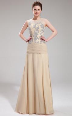 Vestidos princesa/ Formato A Decote redondo Longos De chiffon Tule Vestido de festa com Apliques de Renda (017019753)