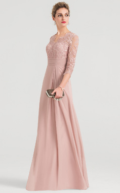 Sheath/Column V-neck Floor-Length Chiffon Evening Dress (017147975)